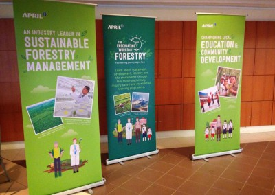 Pull-up banners about our programme and our efforts in sustainable forestry management